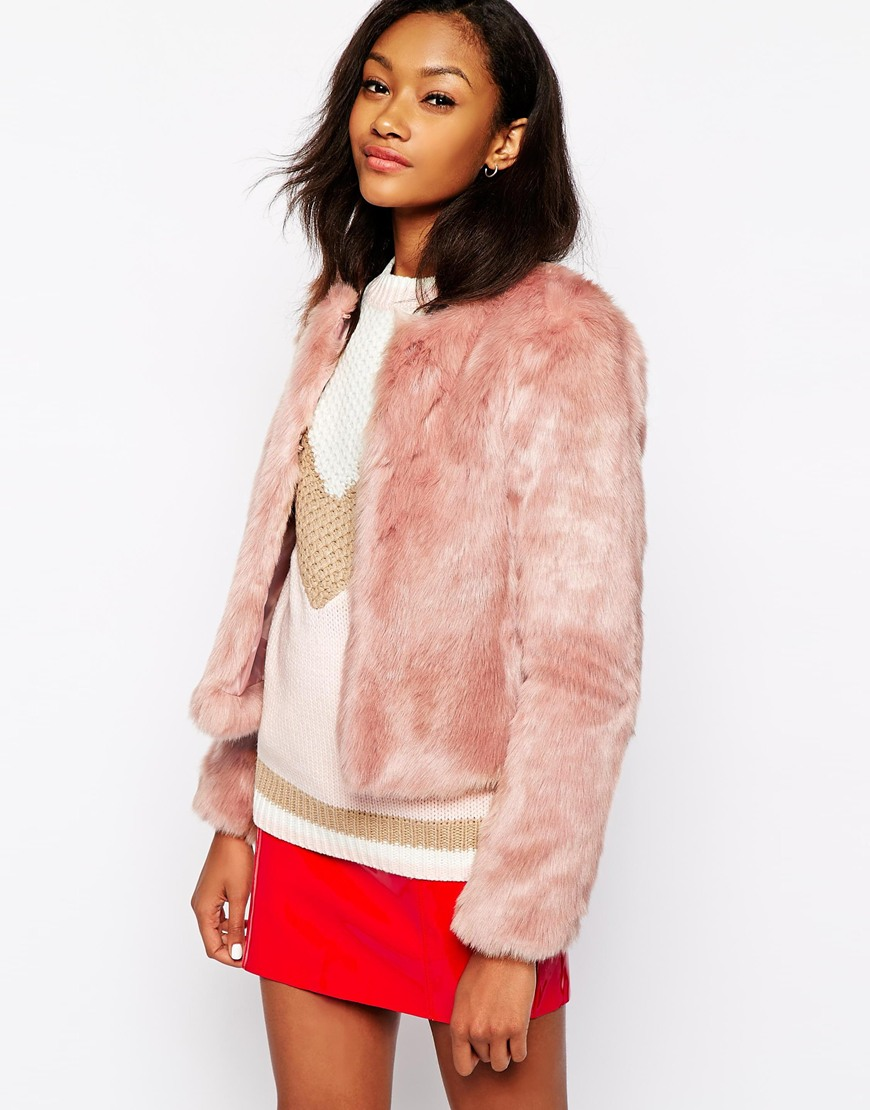 Warehouse Crop Faux Fur Jacket at ASOS