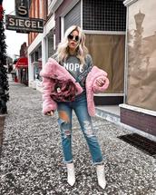 jacket,tumblr,pink jacket,fur jacket,faux fur jacket,denim,jeans,blue jeans,ripped jeans,boots,ankle boots,white boots,sweatshirt,sunglasses