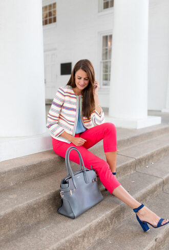 themilleraffect blogger top skirt shoes bag jewels jacket pants pink pants blue heels high heel sandals sandals handbag spring outfits