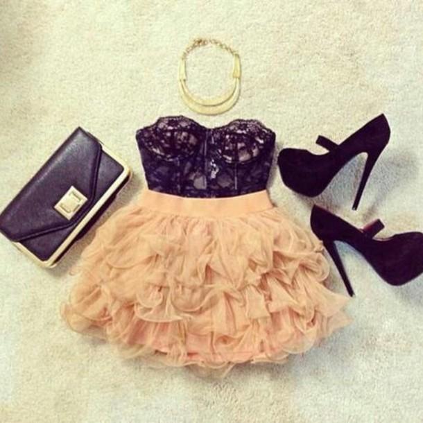 dress dark blue beige orange high heels clutch necklace