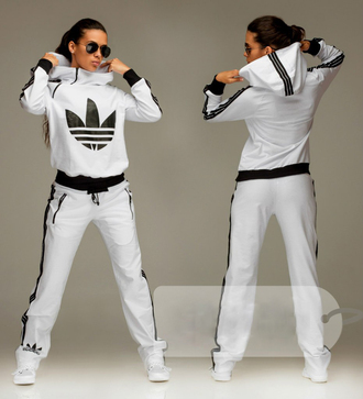 jumpsuit adidas 3 stripes hoodie hood white tracksuit sweater long sleeves zip black and white sportswear pants blouse love is in the air swag sporty hoodie jacket bottoms