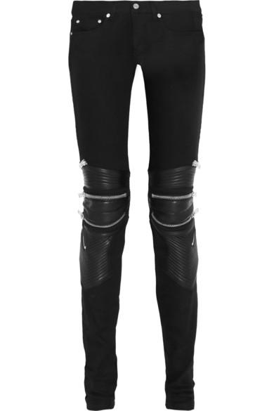 Saint Laurent|Leather-paneled skinny jeans|NET-A-PORTER.COM