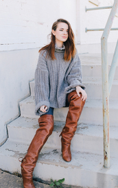 sea of shoes,blogger,grey oversized sweater,oversized sweater,oversized turtleneck sweater,fall outfits,sweater weather,red hair,over the knee boots,thigh high boots,brown boots,grey cable knit sweater,cable knit