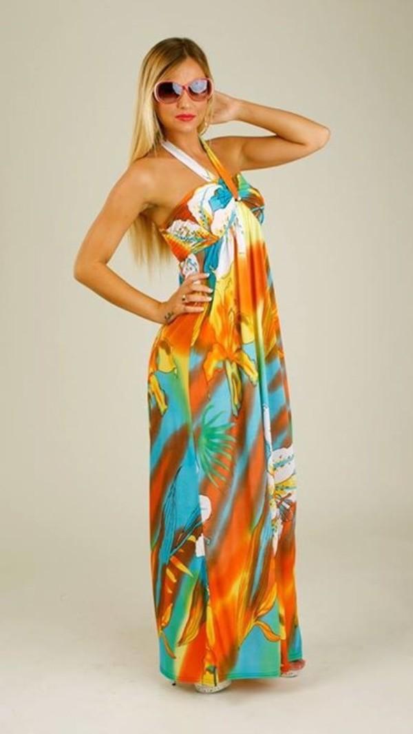dress maxi maxi dress tie dye bodycon dress aztec print halter top fashion