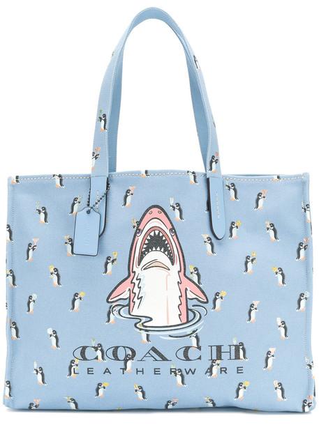 coach women bag tote bag leather cotton blue