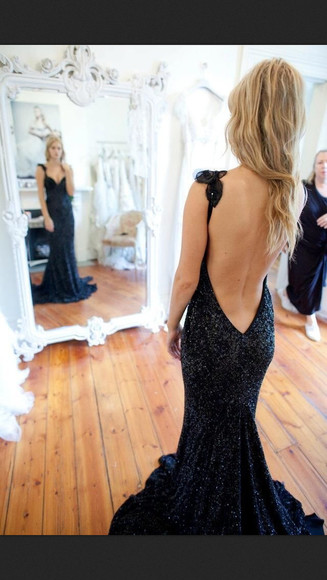 dress low cut back low back dress mermaid prom dresses black prom dress