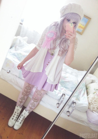 dress sweet cute pink soft pink pastel pastel goth white dress kawaii hat jeans coat shorts emo goth cool