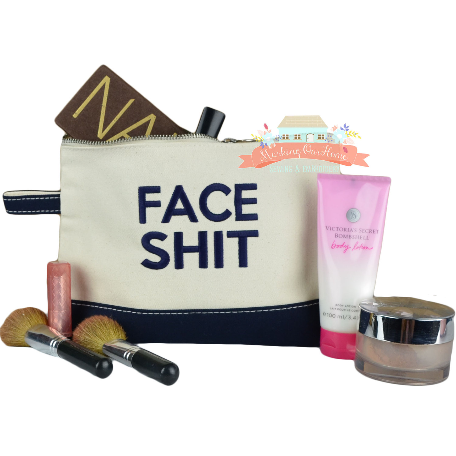 FACE SHIT bag, Face Shit Makeup Bag, Cosmetic Case, Embroidered - Navy Block