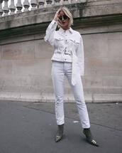 jacket,white jacket,denim jacket,belt,jeans,white jeans,boots,balenciaga,sunglasses