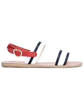 back sandals stripes white shoes