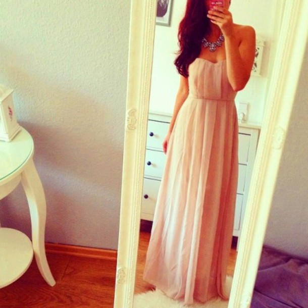 rosa dress cute dress rose maxi dress prom dress strapless dress beautifuldress peach dress long beige chiffon dress sea ny long beige dress