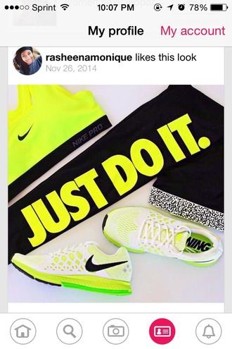 top sports bra yellow nike nike running shoes nike pro leggings tights