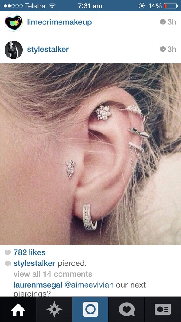 jewels earrings helix piercing tragus