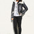Bonded Faux Suede Vintage Effect Shearling Aviator Jacket in Black & Cream