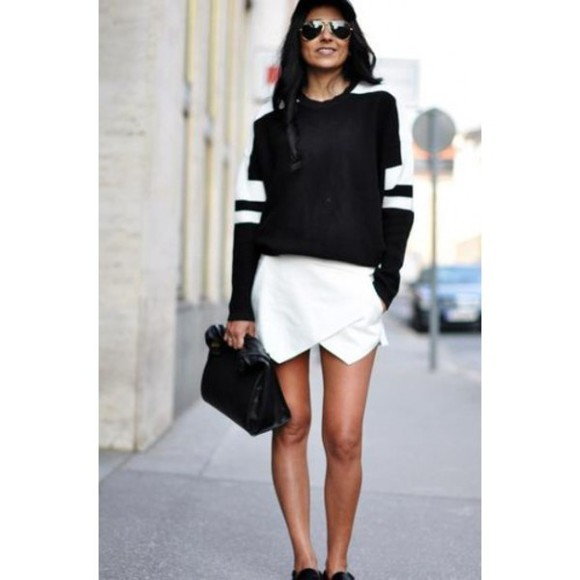 sweater skort shorts sunglasses bag