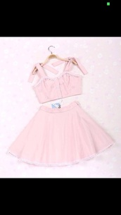 top,girly,sparkle,glitter,style,bows,pink top,bustier,skater skirt,skirt,rhinestones,two piece dress set,pink dress