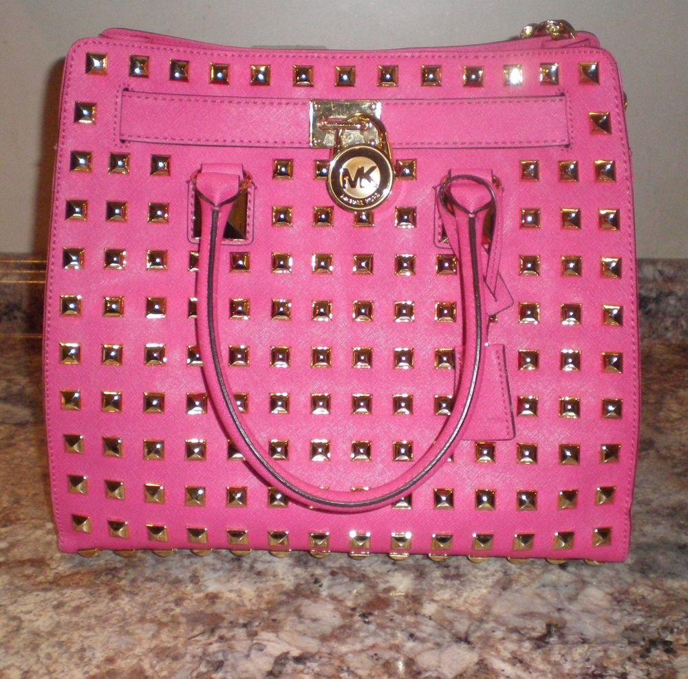dd3fb2ff12dbdf Michael Kors Large Hamilton Studded Hot Pink Handbag | eBay