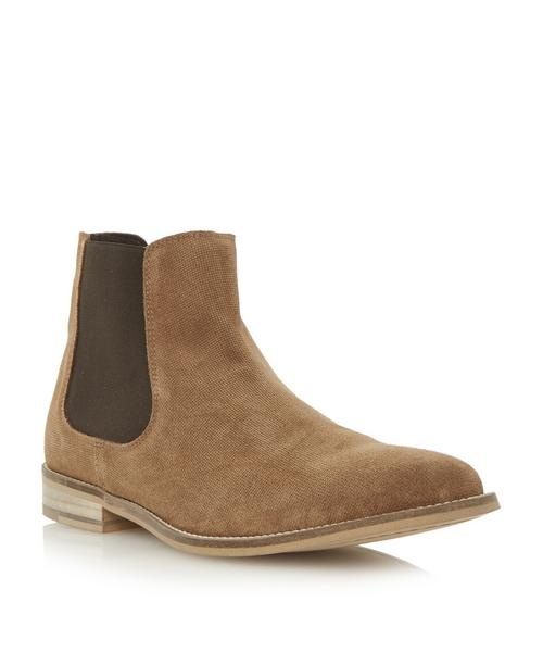 Dune Mens Chevvy Perforated Suede Chelsea Boot Tan Dune