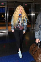 jacket,denim jacket,pants,ankle boots,iggy azalea