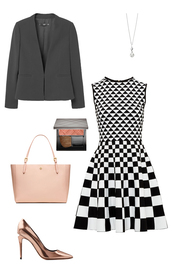 dress,classy,blazer,pink bag,ted baker,metallic shoes,copper,Michaela Pratt,black and white dress,black and white,office outfits,work outfits,checkered,tory burch,stilettos,cheek blush,pearl,how to get away with murder,jacket,shoes,bag,make-up,jewels