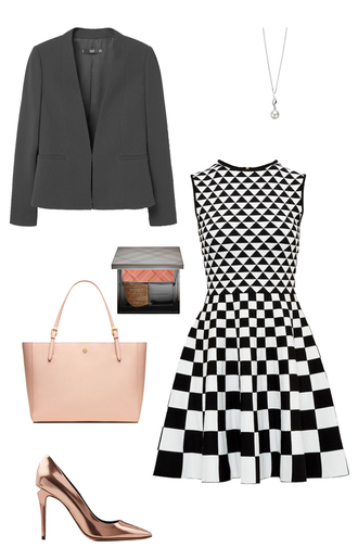 dress classy blazer pink bag ted baker metallic shoes copper michaela pratt black and white dress black and white office outfits work outfits checkered tory burch stilettos cheek blush pearl how to get away with murder jacket shoes bag make-up jewels