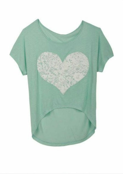 t-shirt mint mint mint shirt mint green shirt lacy lace top lace heart heart shirt style girly
