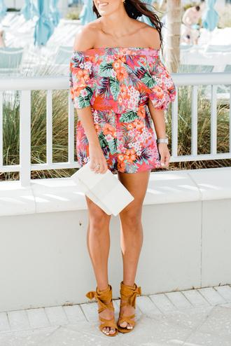 romper tumblr floral floral romper off the shoulder bag white bag sandals sandal heels high heel sandals suede shoes shoes