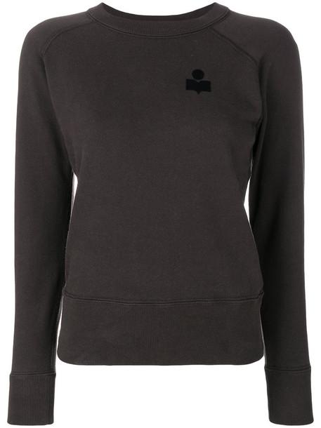 Isabel Marant Étoile - logo ribbed sweatshirt - women - Cotton/Polyester/Polyamide - 36, Brown, Cotton/Polyester/Polyamide
