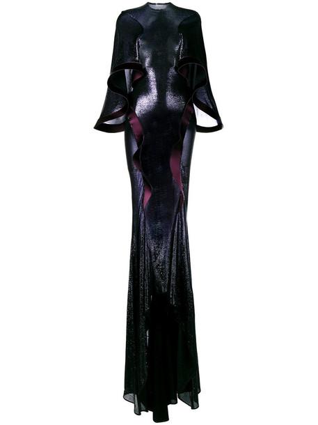 Esteban Cortazar gown metallic women spandex blue knit dress