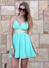 dress,aqua,blue,gold,sequins