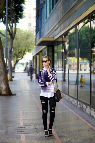 late afternoon blogger striped sweater black jeans ripped jeans black ripped jeans shirt jeans shoes bag jewels sunglasses