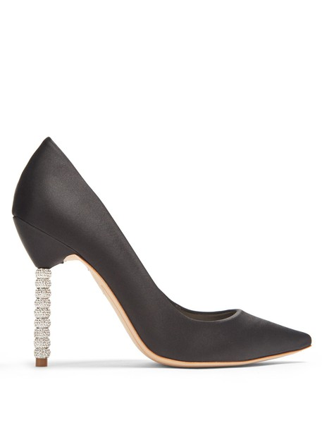 Sophia Webster heel embellished pumps satin black shoes