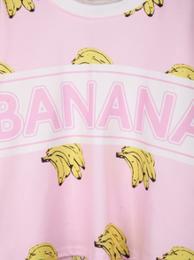 Pink long sleeve banana print crop sweatshirt