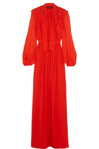 gown silk orange dress