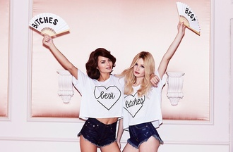 top bff matching shirts crop tops white heart t-shirt