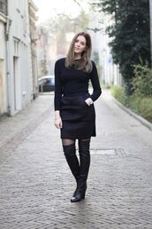 moderosa,blogger,top,thigh high boots,office outfits