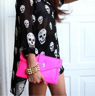 dress shirt black and white asymmetrical flowy skull skull pink white bag black bracelets neon spikes dess clutch handbag soikes edgey