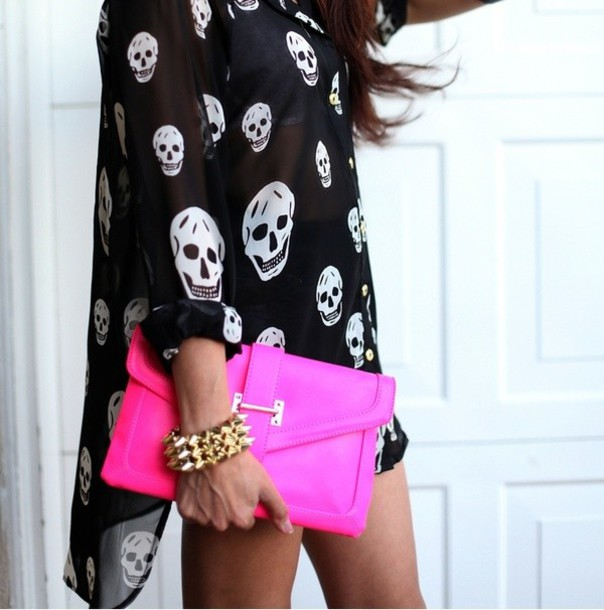 Dress: skull, shirt, black and white, asymmetrical, flowy, skull ...