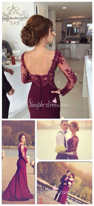 dress burgundy burgundy dress prom dress prom gown formal dress formal evening dress classy brand hair red dress