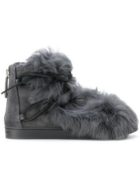 Gianvito Rossi snow boots fur women snow suede grey shoes