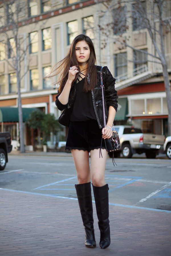 fake leather jacket dress t-shirt shoes