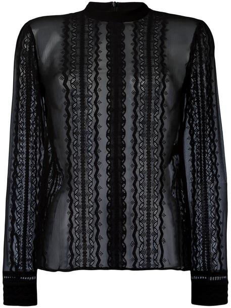 Elizabeth and James blouse sheer blouse sheer women lace black silk top