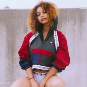 jacket,tommy hilfiger jacket,blouse,tommy hilfiger,tommyhilifier jacket,retro,retro jacket,vintage,vintage jacket,classic,cute,indie,indie boho,grunge,90s grunge,crop,tommy hilfiger crop top,cropped hoodie,khaki,Khaki coat,red,trendy,fashion vibe,cool,hipster,sweater,westbrooks,windbreaker,coat,the red jacket,tommy holdover crop top.,cropped jacket,multicolor