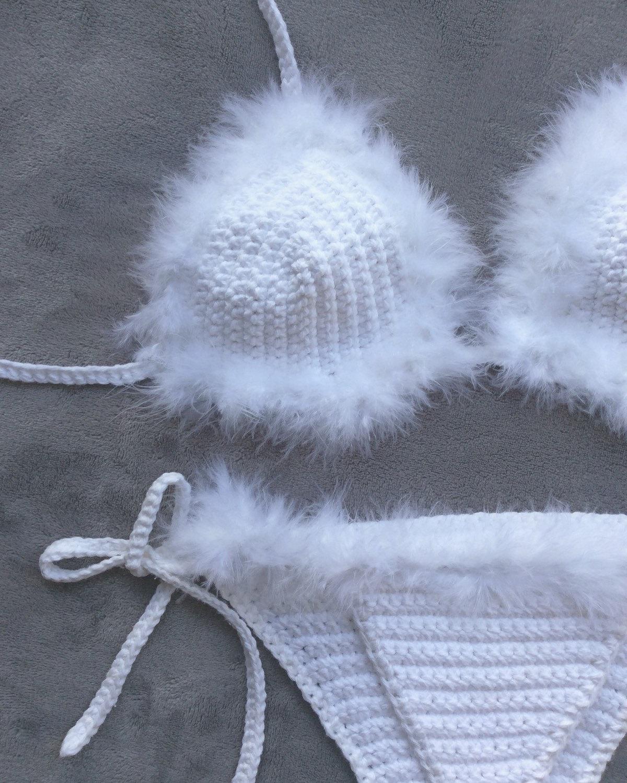 bf0b1c60d1 Feather faux fur crochet bikini set in black or white