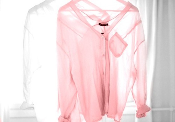 Shirt Tranparent Pink Cute Dusky Pink Baby Pink Blouse Sheer
