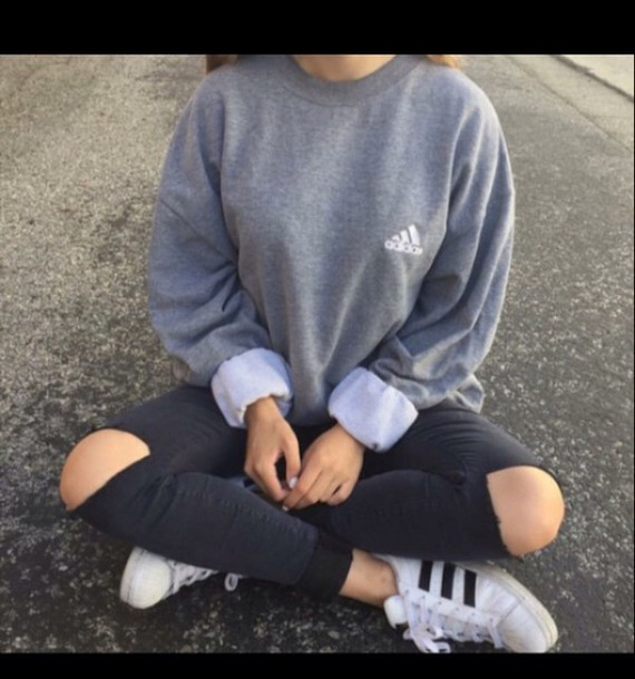 Sweater Women Adidas Sweatshirt Grey Tumblr Adidas Grey