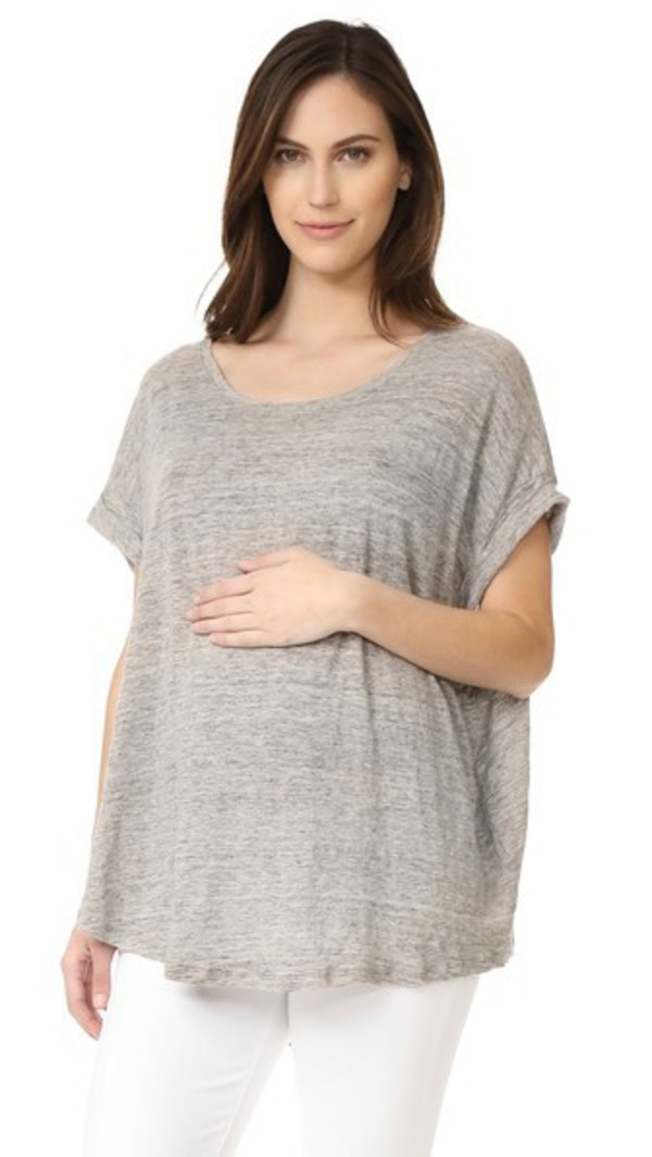 HATCH The Linen Circle Tee in grey