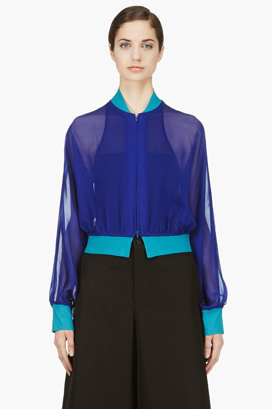 yohji yamamoto blue silk crepe cropped jacket