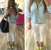 white pants,skinny pants,classy,blond,jeans,chemise,big bag,sac,job,chemise en jeans,t-shirt,bag,belt,jumpsuit,pants,shoes
