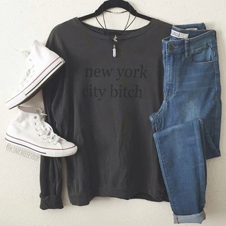 shirt grey t-shirt black top black t-shirt new york city